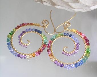 Rainbow Spiral Gold Filled Earrings, Multi Gemstone Chakra Dangles, Lightweight, Mod Bohemian, Artisan Designed