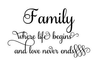 Family where life begins digital file Svg, Png, Jpg, Pdf