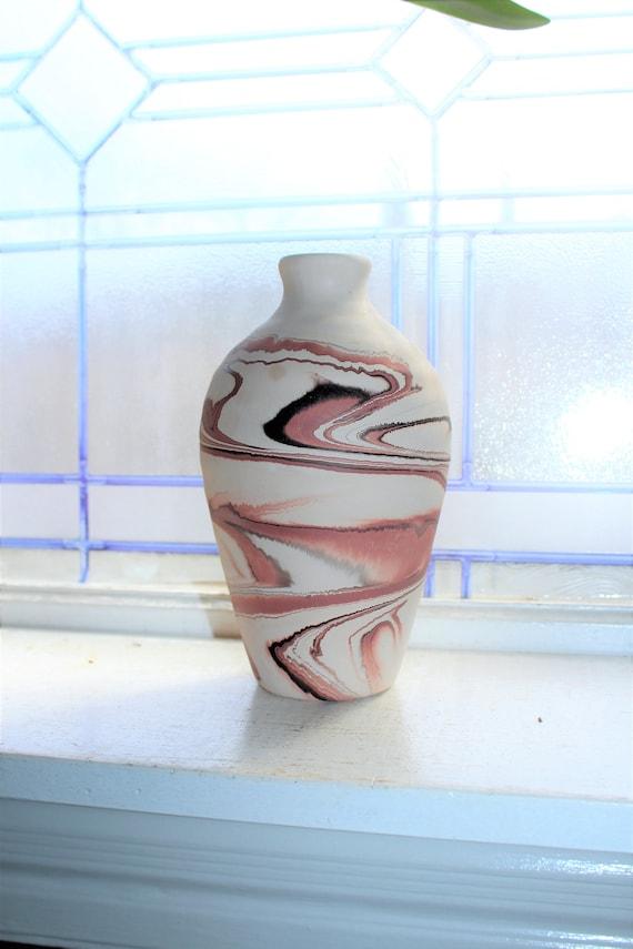 Vintage Nemadji Pottery Vase 8 Inch Swirl Pottery