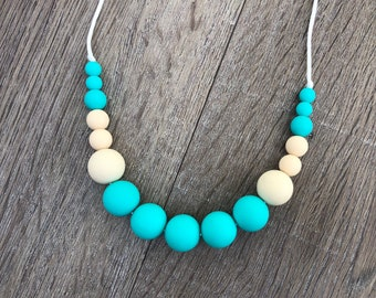 Silicone Teething Necklace Nursing Necklace Baby Wearing Necklace Chew Beads Bite Beads Sensory Necklace New Mom Gift Teething Toy Teether