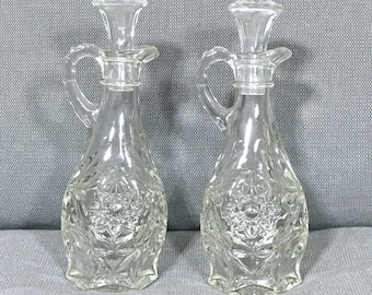 Two Vintage Glass Oil and Vinegar Cruets, Oil and Vinegar, Cruet, Cruets, Vintage Glass, Vintage Jars, Glass Bottles, Vintage Kitchen, Bath