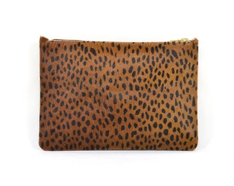 Coralie - Handmade Leopard Print Hair On Hide Leather Clutch Bag Zip Pouch Purse
