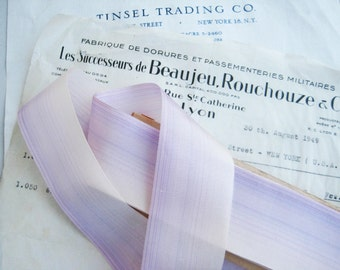 """Vintage French Pale Lavender Ombre Rayon Ribbon Flowers 1 1/2"""" 1 yard"""