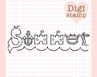 Summer Word Art Digital Stamp - Summer Stamp - Digital Summer Stamp - Summer word Art - Summer Card Supply - Summer Craft Supply