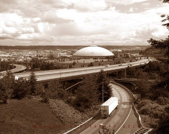 Sepia Tacoma Architectural Wall Art Home Decor Tacoma Washington Dome Cityscape city- Tacoma - a Fine Art Photograph by Sarah McTernen