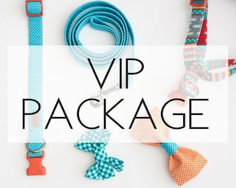 The VIP Package - our biggest package yet! (Includes 1 collar, 1 leash, 1 harness, and 2 accessories!