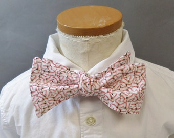 """Baseball Bow Tie. Young Adult / Teen. Self Tie / Adjustable. Baseball. Red and White. Cotton. Fits Up to 14"""" Neckband."""