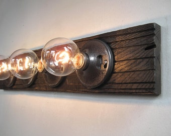 Bathroom lights etsy bathroom light fixture wood custom 4 bulb bathroom white wash mozeypictures Image collections