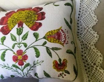 FALL FLORAL Pillow, Repurposed 1973 Linen Calendar Towel Wide Crochet Lace,TeaTowelPillow,Stuffed Linens,CalendarWallHanging,Fall Decor
