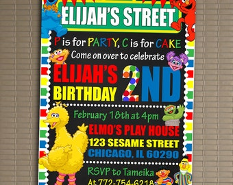 Sesame Street Invitation, You Print Invitation, Sesame Street Birthday Invitation, Sesame Street Invite, Sesame Street Birthday Party Invite