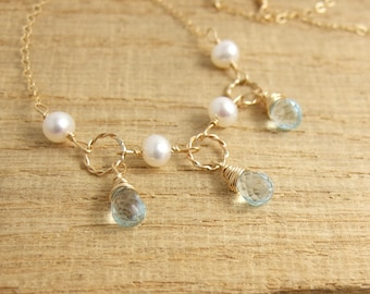 Necklace with Pearls Wire Wrapped to a 14k Gold-Filled Chain and Braided Loops with Gold Filled Wire and Blue Topaz Teardrops GCDN-33
