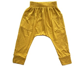 Mustard Harem Pants - Baby Thermals - Bamboo Baby Pants - Baby Harem Pants - Baby Leggings - Toddler Pants - Kids Trousers - Baby Gift