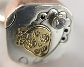 Mixed Metal Little Lady Sugar Skull Collage Ring