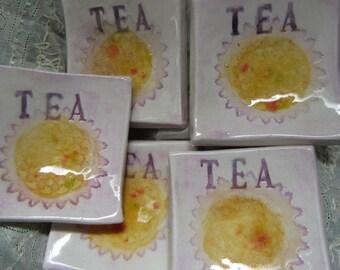 Set of Five Bright Yellow Sunflowers Ceramic Tea Bag Holders