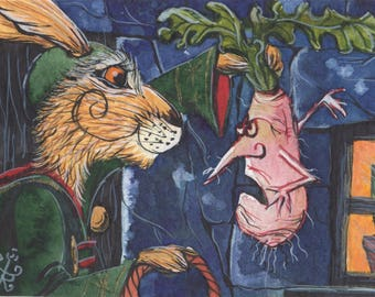 The Russisculoffed Grilpnip! - Matlock the Hare - Whimsical magical vegetable signed archival art print.