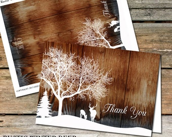 Rustic Thank You Card, Rustic Deer thank you, Printable rustic thank you, Woodland DIY Printable Greeting Card