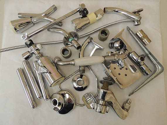 Vintage Mixed Metal Salvage Hardware Chrome Plumbing Pieces For Assemblage Art Sculpture & Craft Supply.. Huge 11 lb Lot (#2)