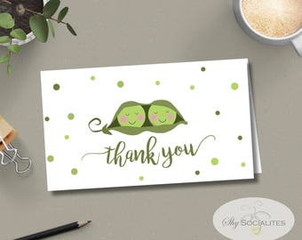 Two Peas in a Pod Thank You Card | Sweet Pea, Two Peas | INSTANT DOWNLOAD | 4x6 Foldable | PDF