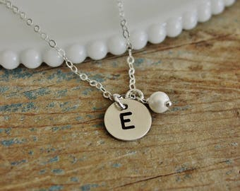 Initial Pearl Necklace, Sterling Silver, Hand Stamped Initial Jewelry, Monogram Necklace, Personalized Initial Charms, Bridesmaid Gift