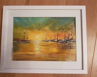 Acrylic original painting sunset