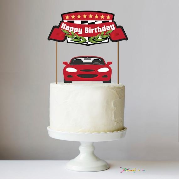 Printable Modern Race Car Cake Topper