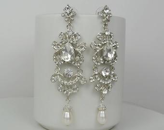 Bridal Crystal Earrings, Swarovski Drop Pearls, Swarovski Bicone Crystals Ivory White Champagne Ashley - Ships in 1-3 Business Days