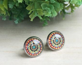 Mandala Posts Zen, Small Stud Art, Mandala Earrings Zen, Trending Bohemian Stud, Colorful Jewelry, Glass Ear Posts, Cabochon Design Gypsy