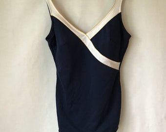 Vintage Navy Blue and White Swimsuit - Size 16 - Bathing Suit - Swim Suit - Gold - One Piece