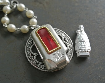 Vintage Devotional Pocket Shrine Necklace, Religious, UPcycled, Silver and Pearl Rosary Chain, Repurposed, One of a Kind By UPcycled Works