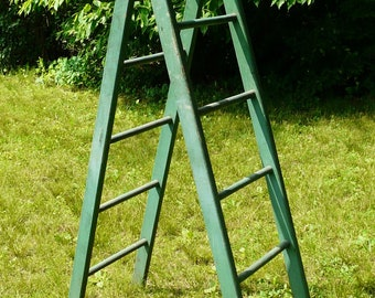 Antique Folding Green Orchard Ladder