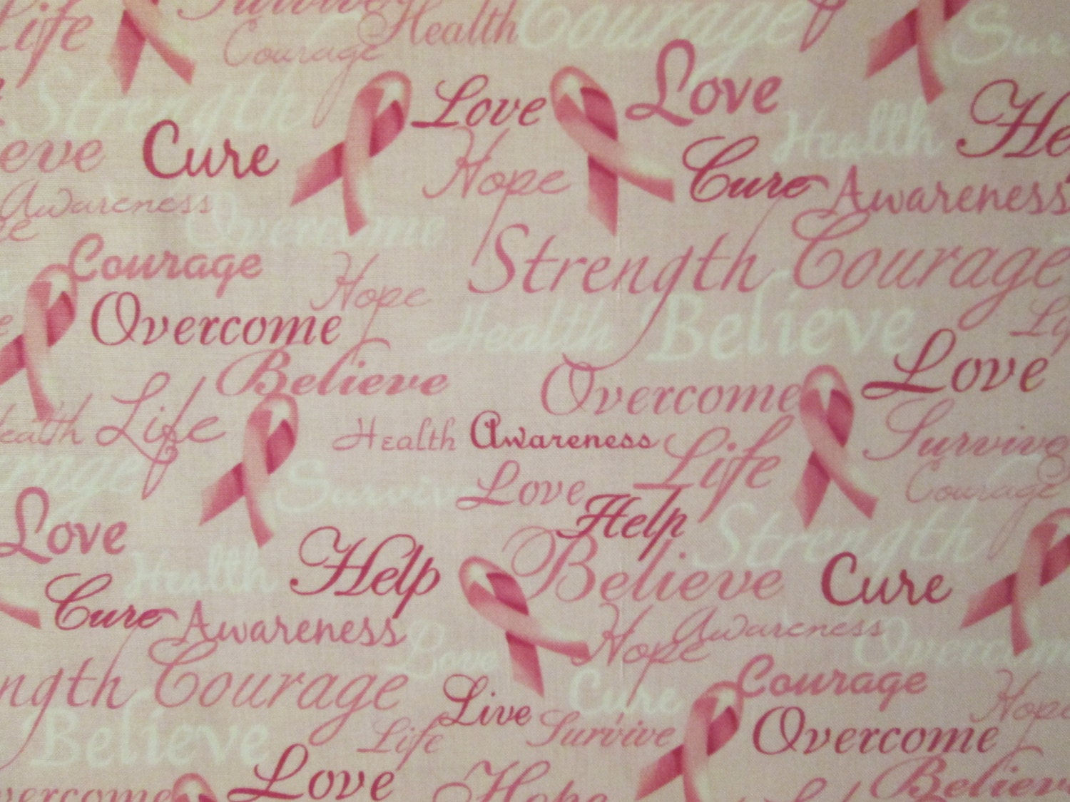 Inspirational Words Breast Cancer Pink Ribbons Inspirational Words Cotton Fabric