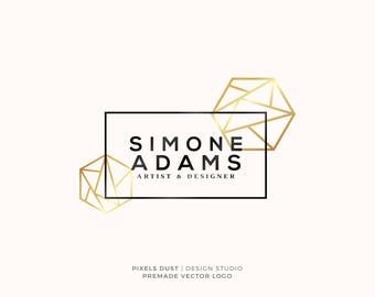 Modern Geometric Logo Design, Premade Logo, Gold Logo, Watercolor, Fashion Logo, Blog Logo, Small Business, Bespoke Logo, Photography Logo