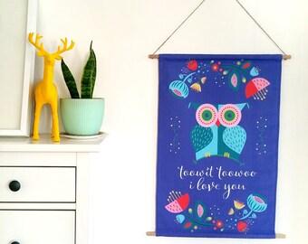 Print Fabric Wall Art / Blue Owl Banner / Large printed wall hanging / Nursery art / Canvas banner / Scandinavian art home decor