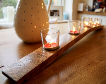 Oak, Scotch whisky barrel stave, with clear glass tealight votive candle holders