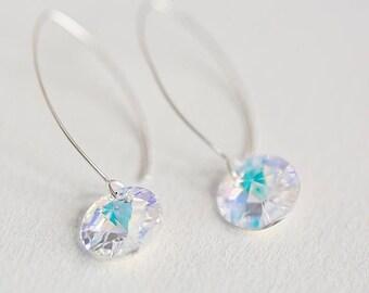 Silver earrings,Sterling silver earrings, silver drop earrings crystal earring,crystal earrings , bridesmaids earrings,dangle silver earring