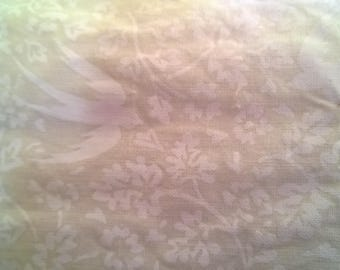 Flowers and swallows 180 x 80 printed white cotton fabric