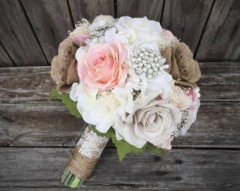 Shabby Chic Bouquet, Burlap and Lace Bouquet, Rustic Bouquet, Rustic Brooch Bouquet, Rustic Blush Bouquet