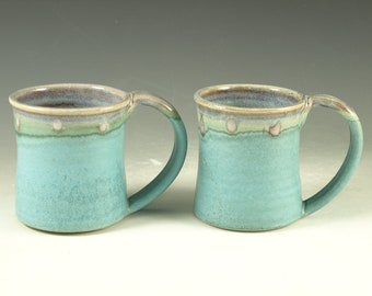 A Pair of Pottery Mug (12oz) in turquoise glaze large handle stoneware
