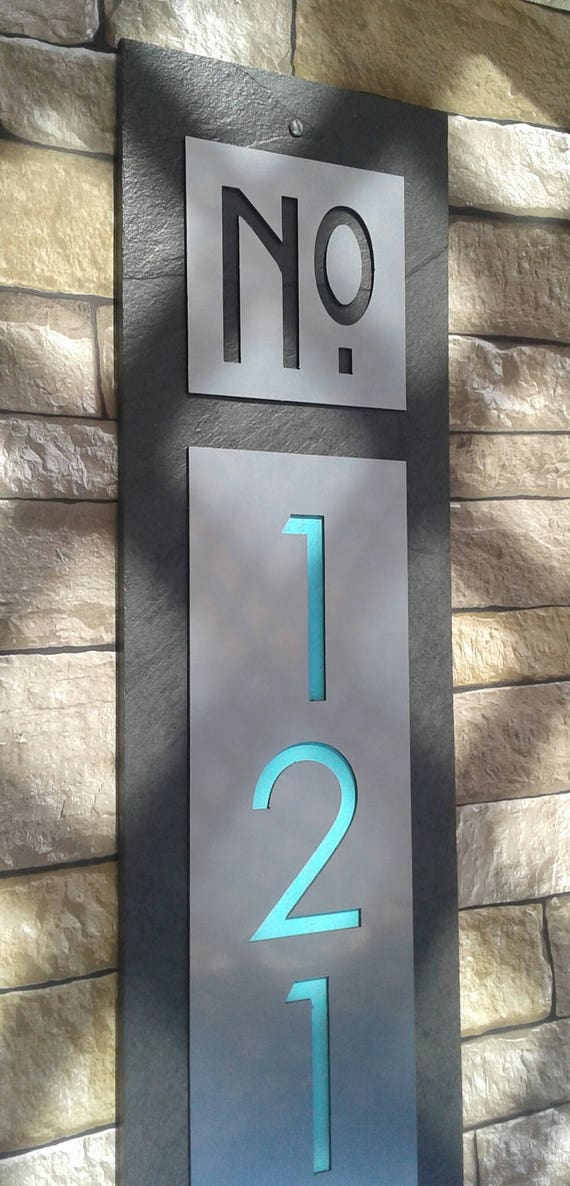 Modern house numbers mid century vertical address plaque for Mid century modern address numbers