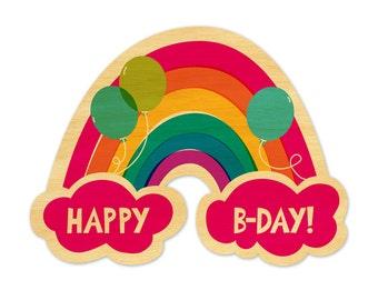Birthday Rainbow - Real Wood Birthday Card - Rainbow Card - Birthday Card - WC1393