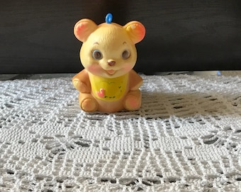 Vintage Musical Bear, Baby Toy Rattle, Celluloid Teddy Bear with Bell