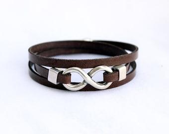 Infinity vegan bracelet, Faux Leather Bracelet, Triple Wrap, For men, for women, gift couple vegan, wholesale jewelry