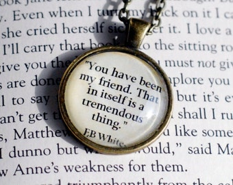 """E.B. White quote from Charlotte's Web, """"You have been my friend..."""" quote necklace pendant jewelry"""
