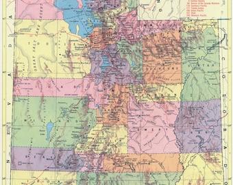 1956 - Utah Map - Beautiful Old Map of Utah - Vintage Map - Colorful Atlas Map - Gift - Home Decor