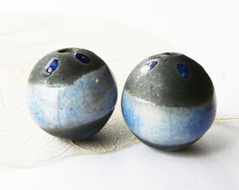 Duo of raku glaze blue and cobalt, unique ceramic beads