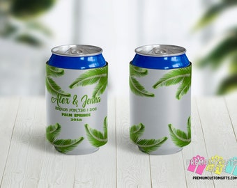 Personalized Palm Trees Can Cooler - Brews For The I Dos Can Cooler - Destination Wedding Can Cooler - Wedding Party Favor - Palm Springs