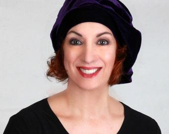 Purple Velvet Beret, Chemo Hat, French Beret, Large Beret, Slouchy Hat, Alopecia Hat