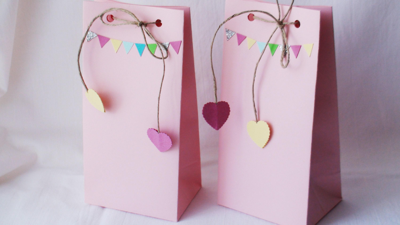 Pink paper bags Pink favor bags Peppa Pig birthday Peppa Pig