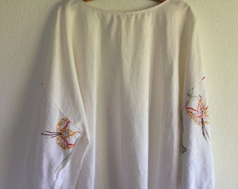 Womens top Poet Blouse Repurposed Embroidery Vintage Linen Clothing Embroidered smallforest free size