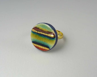 Ceramic ring, multicolour circle with gold.